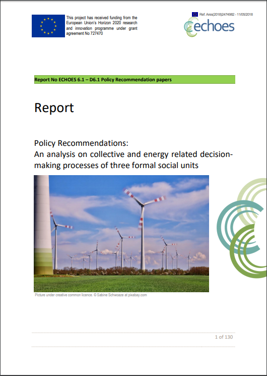 Deliverable 6.1 Policy Recommendations in energy related decision making processes